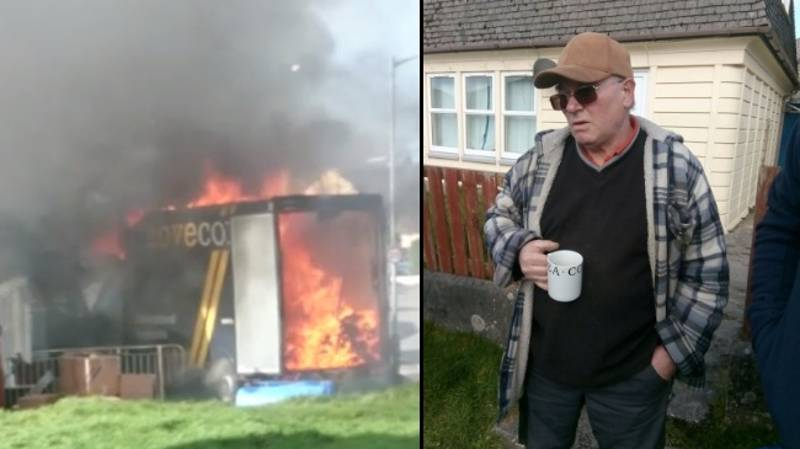 Bankrupt Man Set Fire To His Belongings And Stood Drinking Cup Of Tea