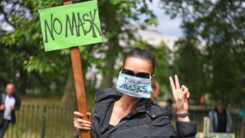 Hundreds Gather In London To Protest Against Wearing Face Masks