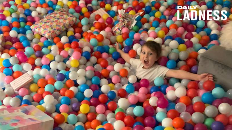 Dad Fills Lounge With 26,000 Plastic Balls To Hide Daughter's Birthday Presents
