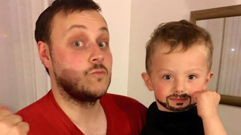 Mum Left In Hysterics After Son Copies Dad's Beard Using Eyeliner