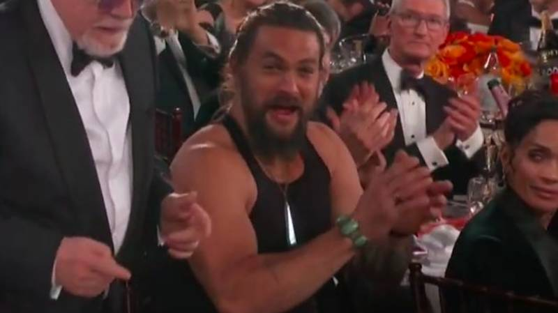 Jason Momoa Wears Tank Top To Golden Globe Awards