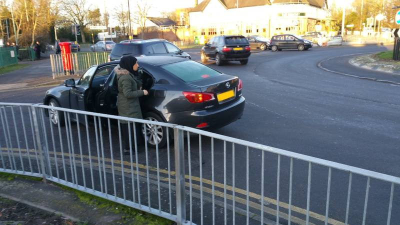 Parents Park Cars On Roundabout During School Run