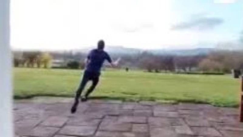 Guy Pulls Off The Most Amazing Catch After Hitting Tennis Ball Over His House
