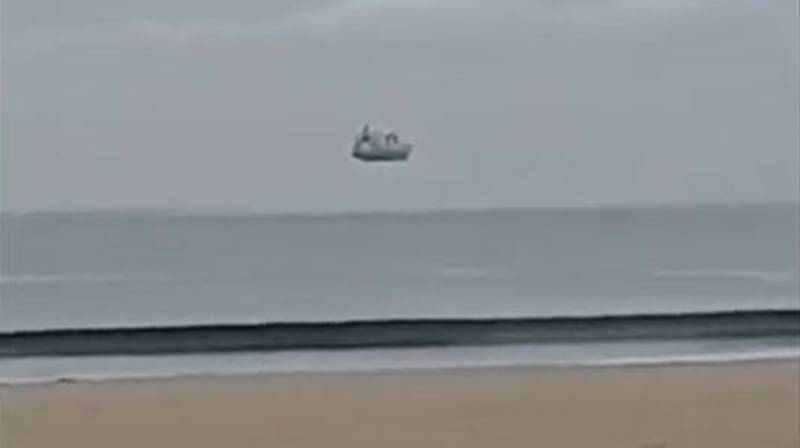 Optical Illusion Makes It Look Like Ship Is Floating Over The Sea