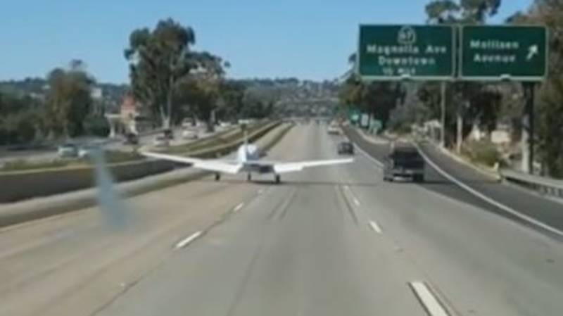 Plane Forced To Make Emergency Landing On California Freeway