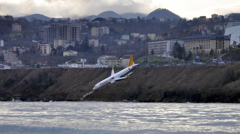 Turkish Plane Balances On Cliff Edge After Skidding Off Runway