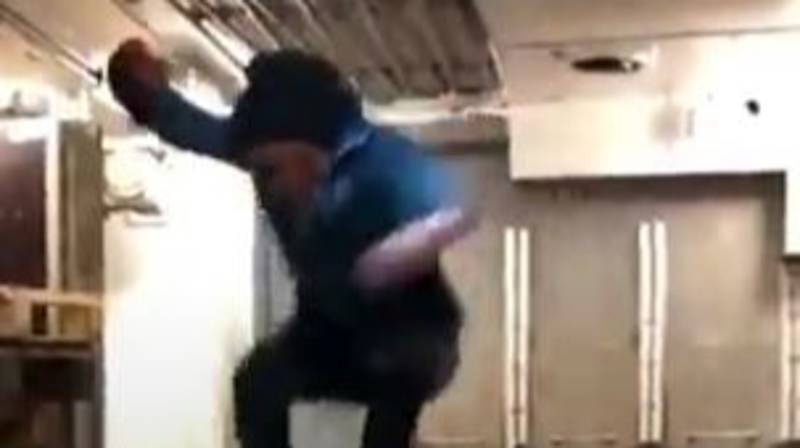 Man Appears To Defy Gravity As He Jumps While Ship Rides A Wave