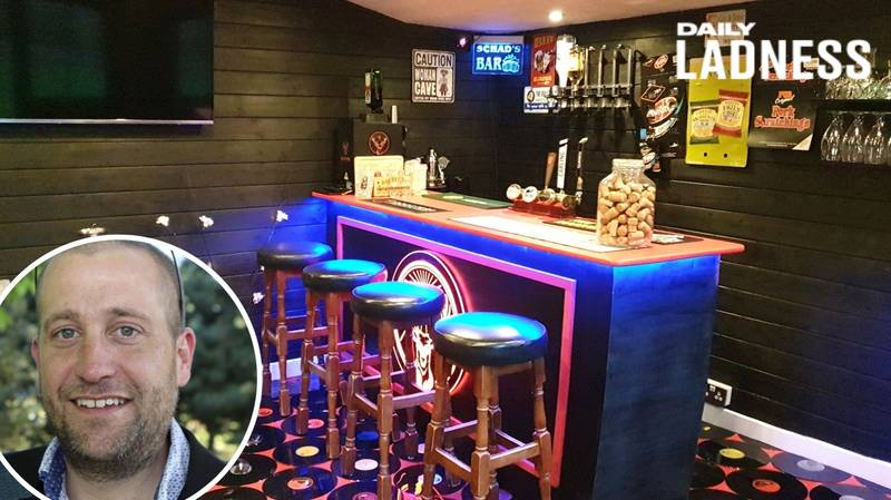 Man Builds Amazing Retro Bar In His Garden Shed