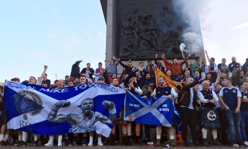 Scottish Football Fans Take Over Armistice Day Memorial In Central London