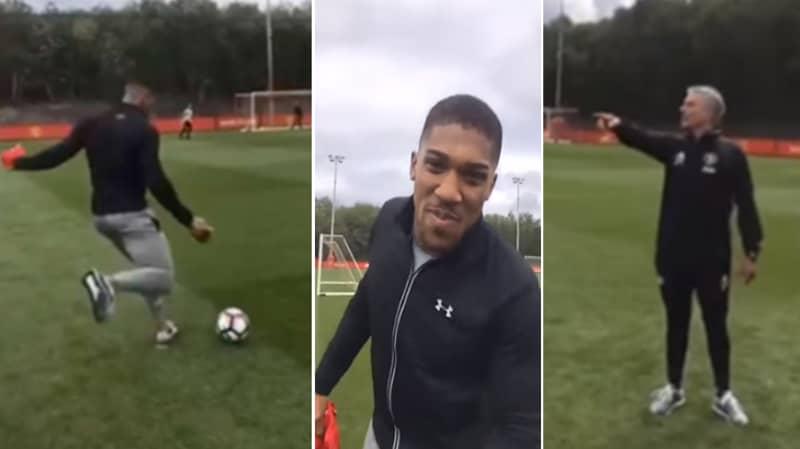 Throwback: Jose Mourinho's Priceless Reaction To Seeing Anthony Joshua Kick A Football