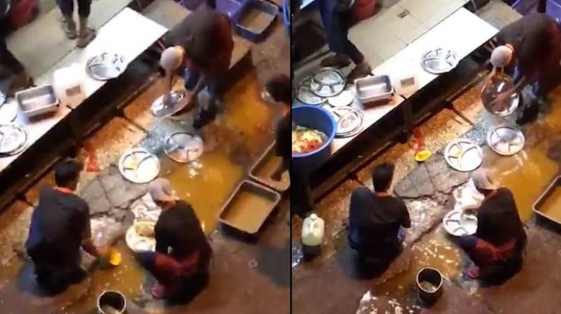 Restaurant Staff Filmed Cleaning Plates In A Dirty Puddle