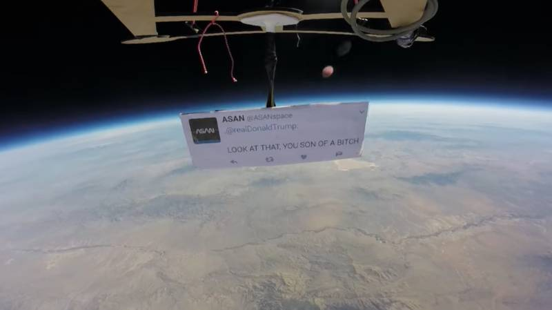 Indie Space Agency Holds Anti-Trump Protest 90,000 Feet Above Earth