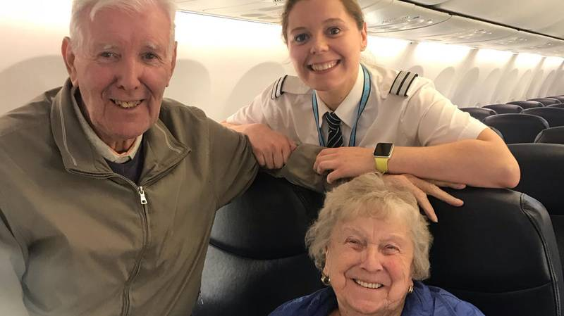 Grandparents Shocked To See 23-Year-Old Granddaughter Flying Them To Spain