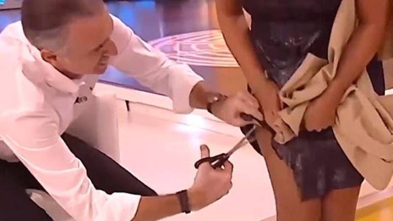 Eat Your Heart Out, One Show, As Spanish TV Star Chops Up Co-Presenter's Dress