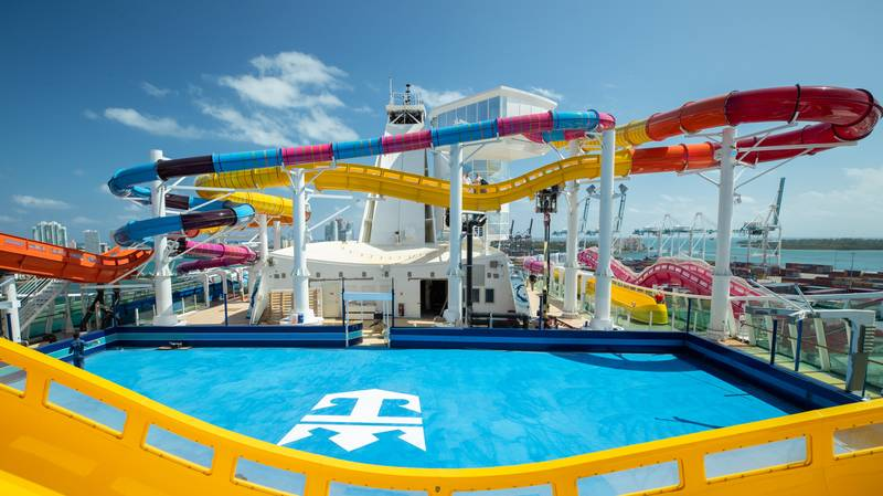 World's Longest Water Slide At Sea Includes Section Which Hangs Over Ship's Edge