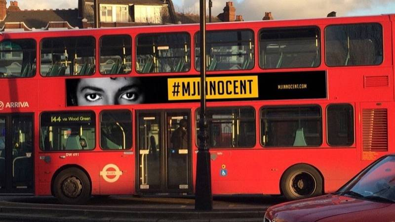 #MJinnocent Ads Appear On London Buses In Protest Against Leaving Neverland Doc