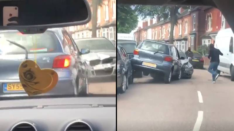 Masked Men Attack Car With Machete In Broad Daylight