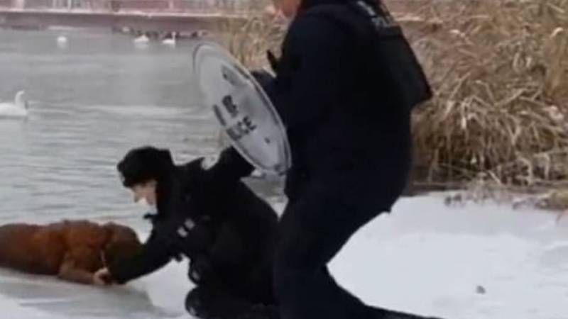 Heroic Cops Save Golden Retriever From Freezing Lake