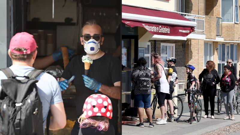 Brits Ignore Social Distancing Rules To Queue Up For Ice-Cream On Seafront