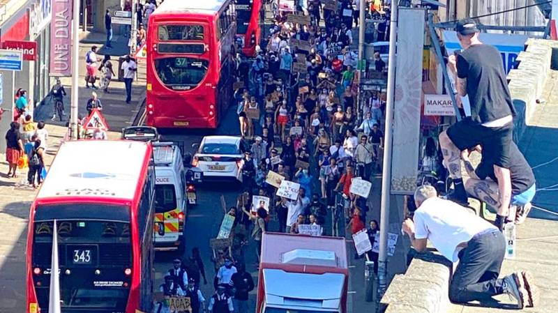 Black Lives Matter Protesters Take To Streets Of London Over George Floyd Death