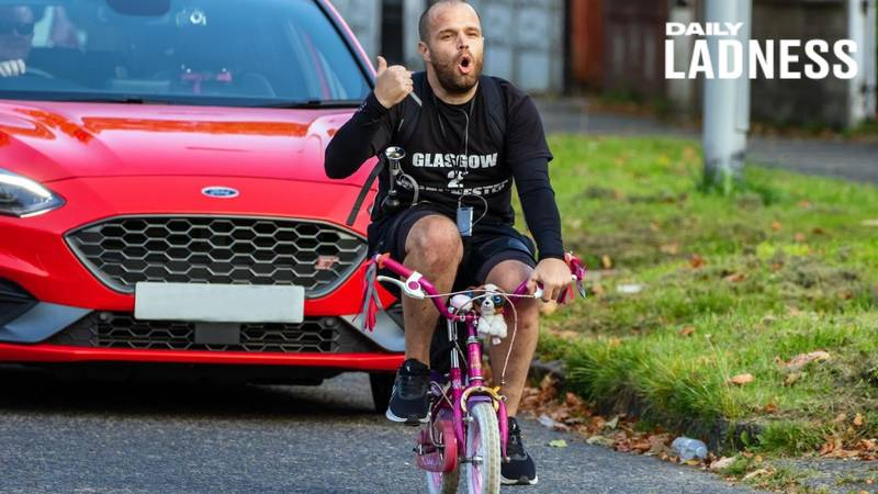 Manchester Dad Cycles Home From Glasgow On Kid's Bike For Charity