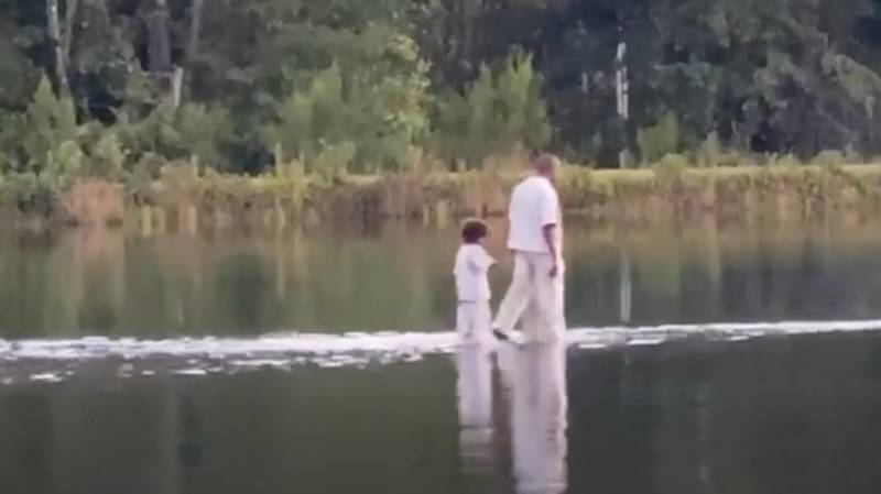 Kanye West 'Walks On Water' With Children During Sunday Service