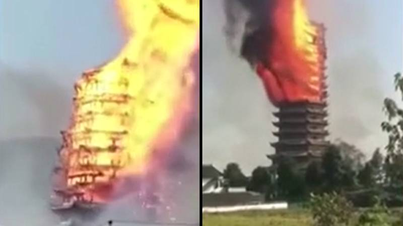 WATCH: Asia's Tallest Wooden Pagoda Erupts In Flames And Burns To The Ground