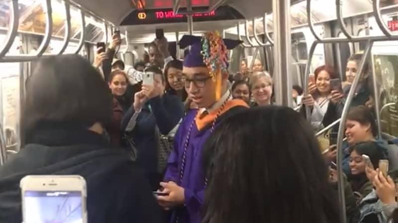 Student Misses Graduation So Subway Travellers Help Him Celebrate