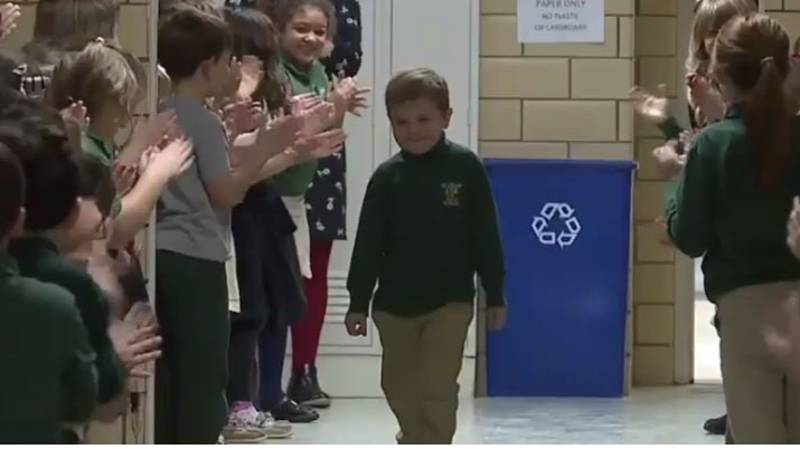Boy Gets Standing Ovation From Classmates After Beating Cancer