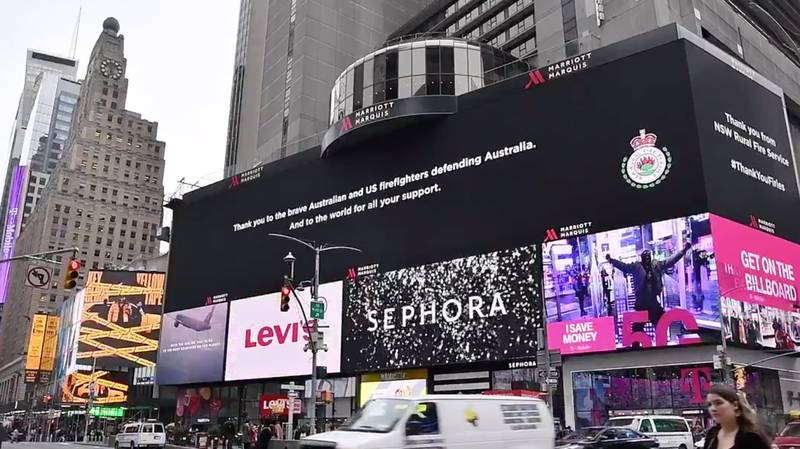 NSW RFS Takes Out Massive Billboard In Time's Square To Thank US Firefighters