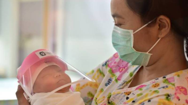 Newborn Babies In Thailand Given Face Shields To Protect Them From Covid-19