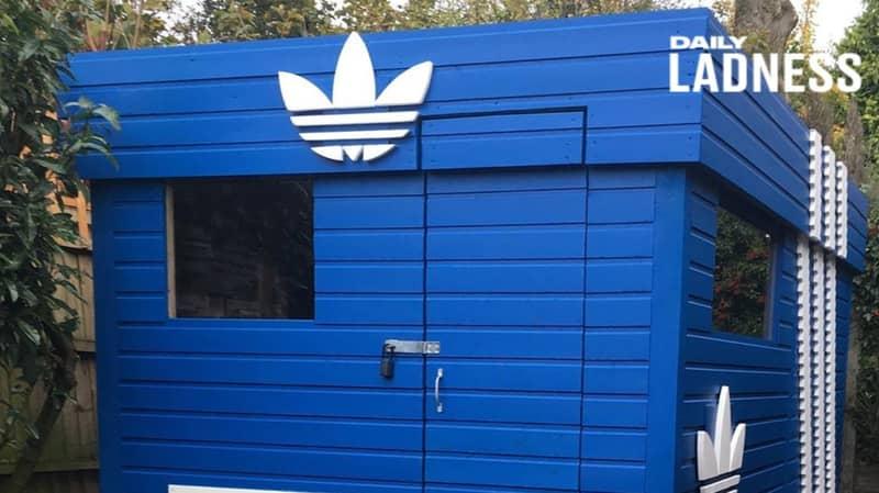Man Creates Adidas Originals Shoebox 'Man Cave' In Garden