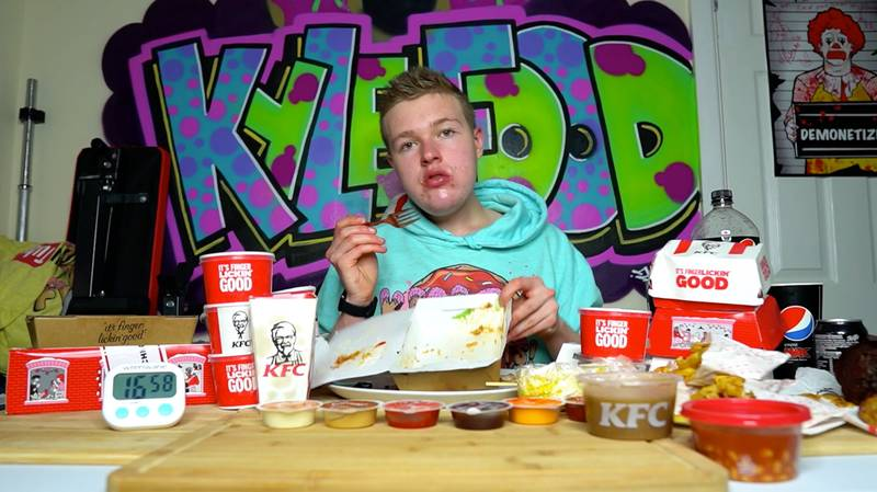 Guy Tries To Eat Entire KFC Menu In One Hour