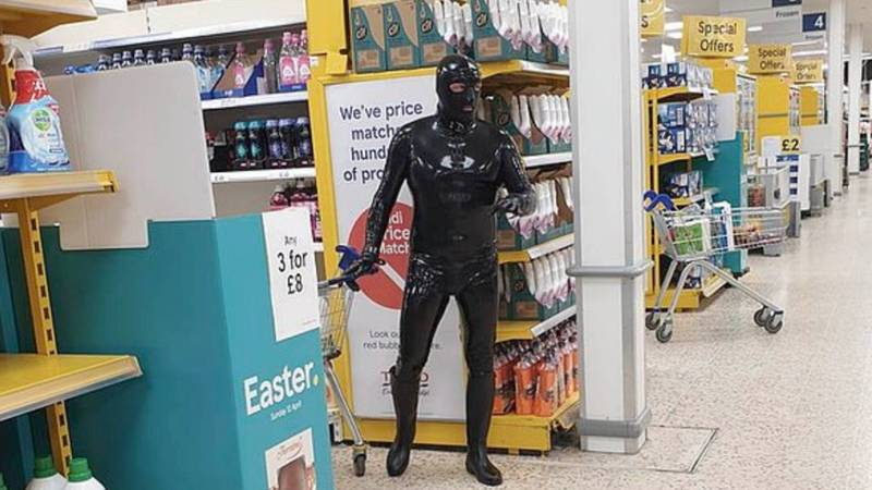 'Gimp Man Of Essex' Goes Shopping In Latex To Raise Money For Charity