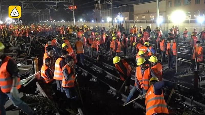 Chinese Workers Build Railway For New Train Station In Just Nine Hours