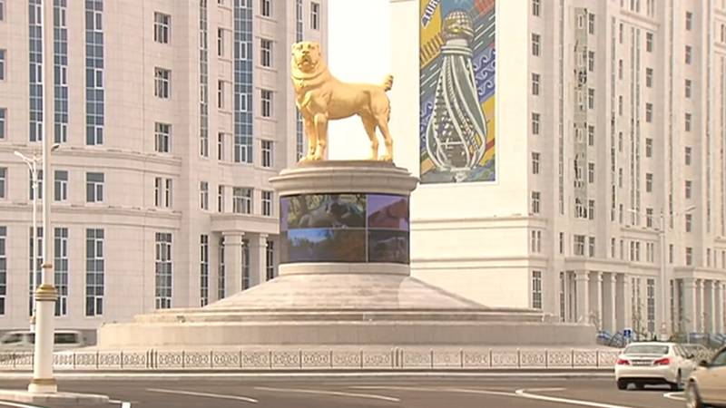 Turkmenistan Leader Unveils Giant Gold Statue Of Favourite Dog