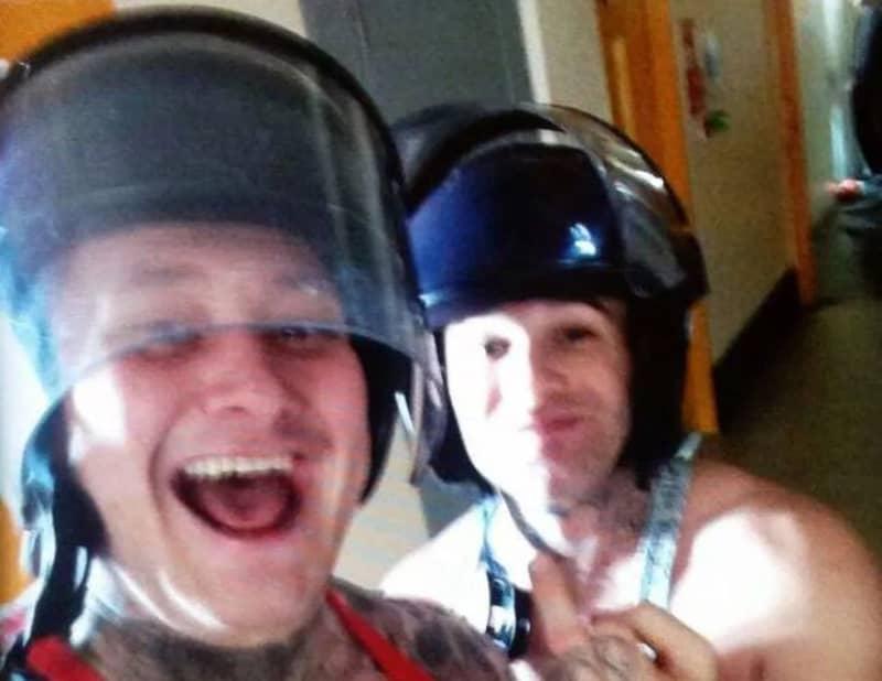 Prisoners Pose With Guards Helmets Following Birmingham Prison Riot