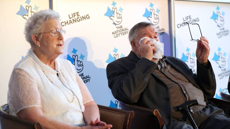 Britain's Oldest Lotto Winner Breaks Down Crying Discussing Win