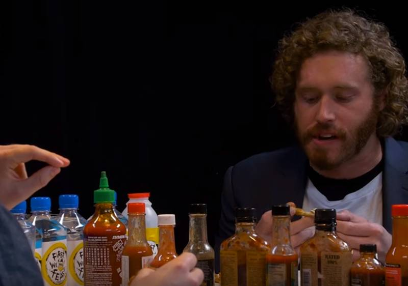 T.J Miller Giving An Interview About Deadpool And Giving Relationship Advice While Eating Hot Wings