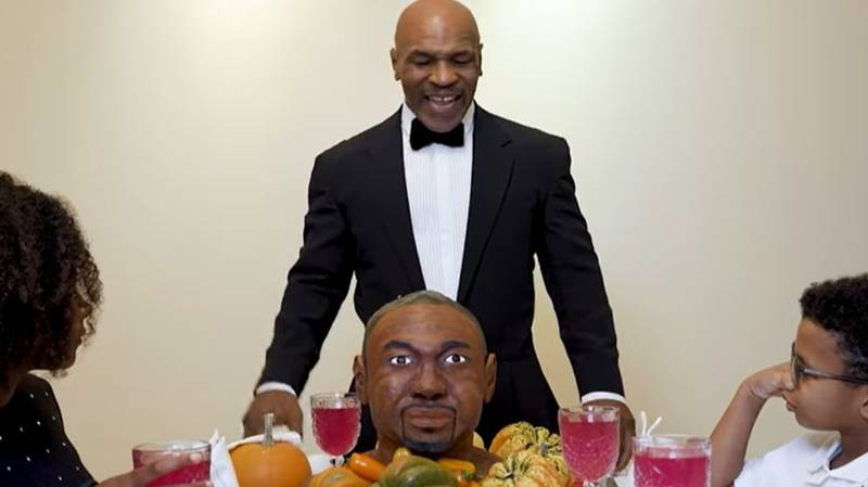Mike Tyson Eats An Ear From A Roy Jones Jr. Cake