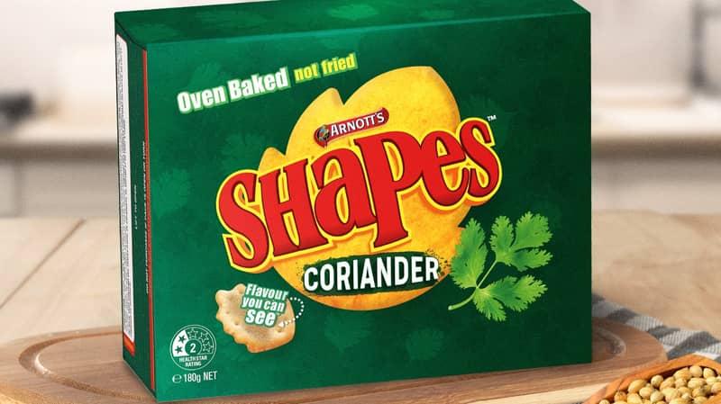 Arnott's Teases Coriander Flavoured Shapes