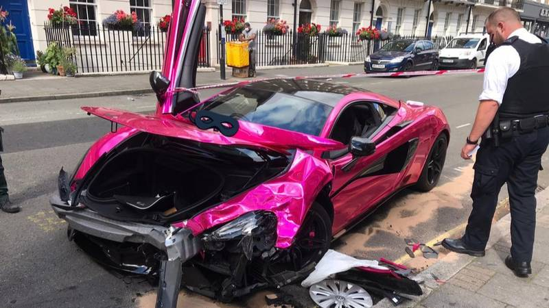 Pink £150,000 McLaren Crashed And Destroyed In 20mph Zone