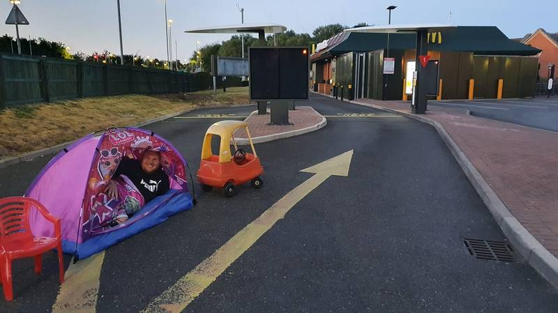 Dad Who Camped In McDonald's Drive-Thru To Beat Reopening Queues Realises He's Four Days Early