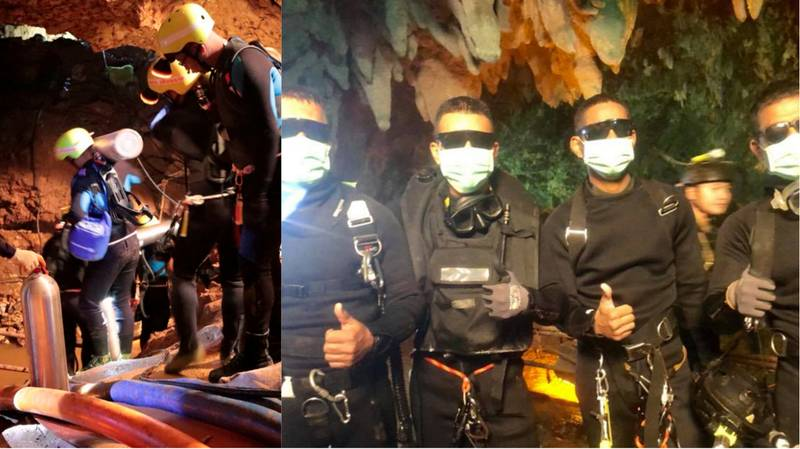 Photo Shows The Four Bad**s Navy Seals After Emerging From Cave