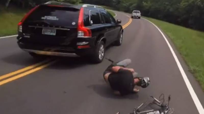 Volvo Driver Brutally Knocks Cyclist Off His Bike Before Racing Away