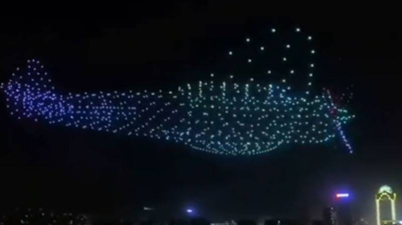 Incredible Video Shows Giant Plane Made Of 800 Drones Floating Through Sky