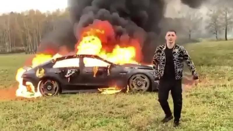 YouTuber Sets Mercedes On Fire In Dangerous Stunt