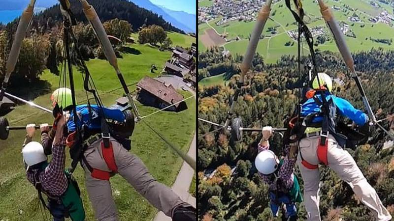 First Time Hang-Glider Clings On For His Life After Pilot Forgets To Attach Him