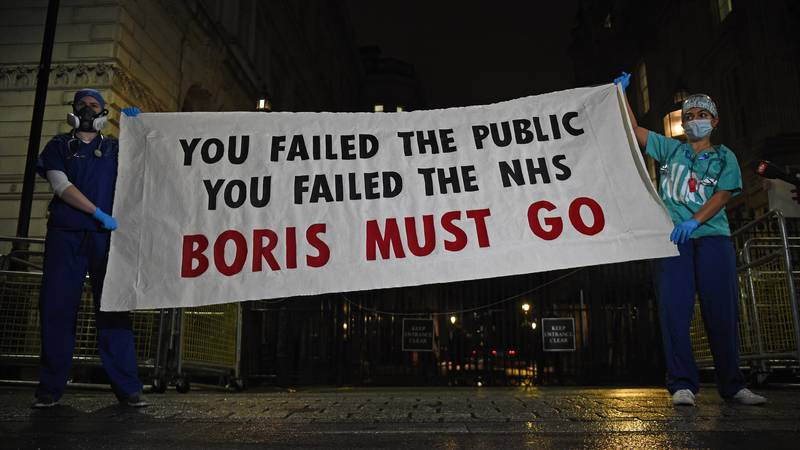 NHS Staff Call For Boris Johnson To Go In Downing Street Protest