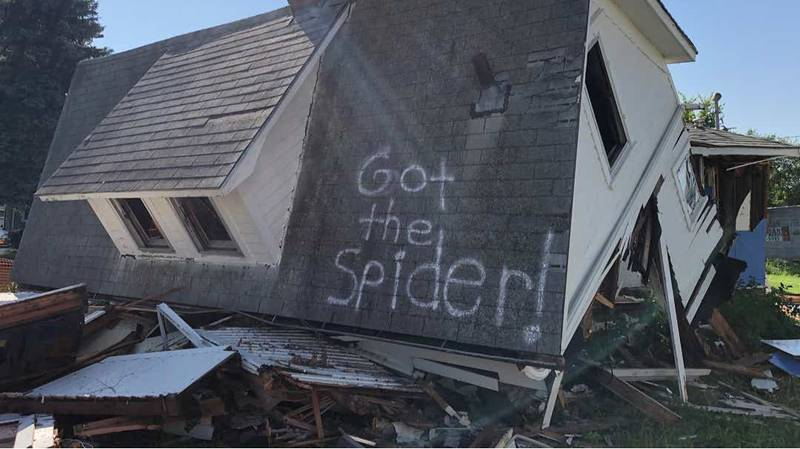 Couple Spray Hilarious Message On Their House After It Was Torn Down